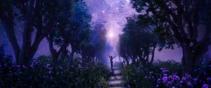 Preview wallpaper forest, starry sky, art, purple, fabulous