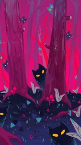 Preview wallpaper forest, trees, cats, silhouettes, art