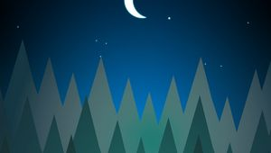 Preview wallpaper forest, trees, moon, night, vector, art