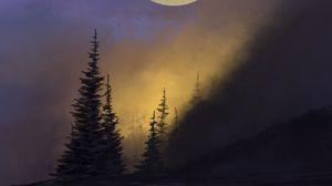 Preview wallpaper forest, trees, moon, night, art, dark