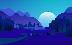 Preview wallpaper forest, trees, mountains, vector, art, blue