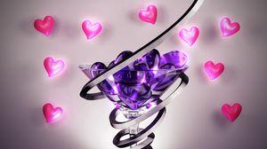 Preview wallpaper form, glass, heart, spiral