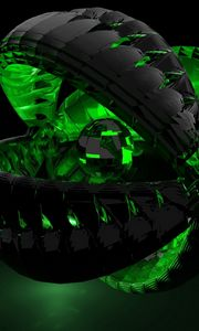Preview wallpaper form, green, shadow, dark