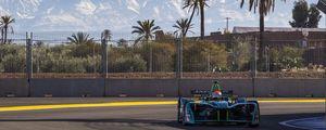 Preview wallpaper formula 1, car, track, racing, asphalt, racer, trees, palm trees, fence