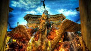 Preview wallpaper fountain, pegasus, city, hdr