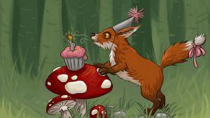 Preview wallpaper fox, mushrooms, cupcake, birthday, art
