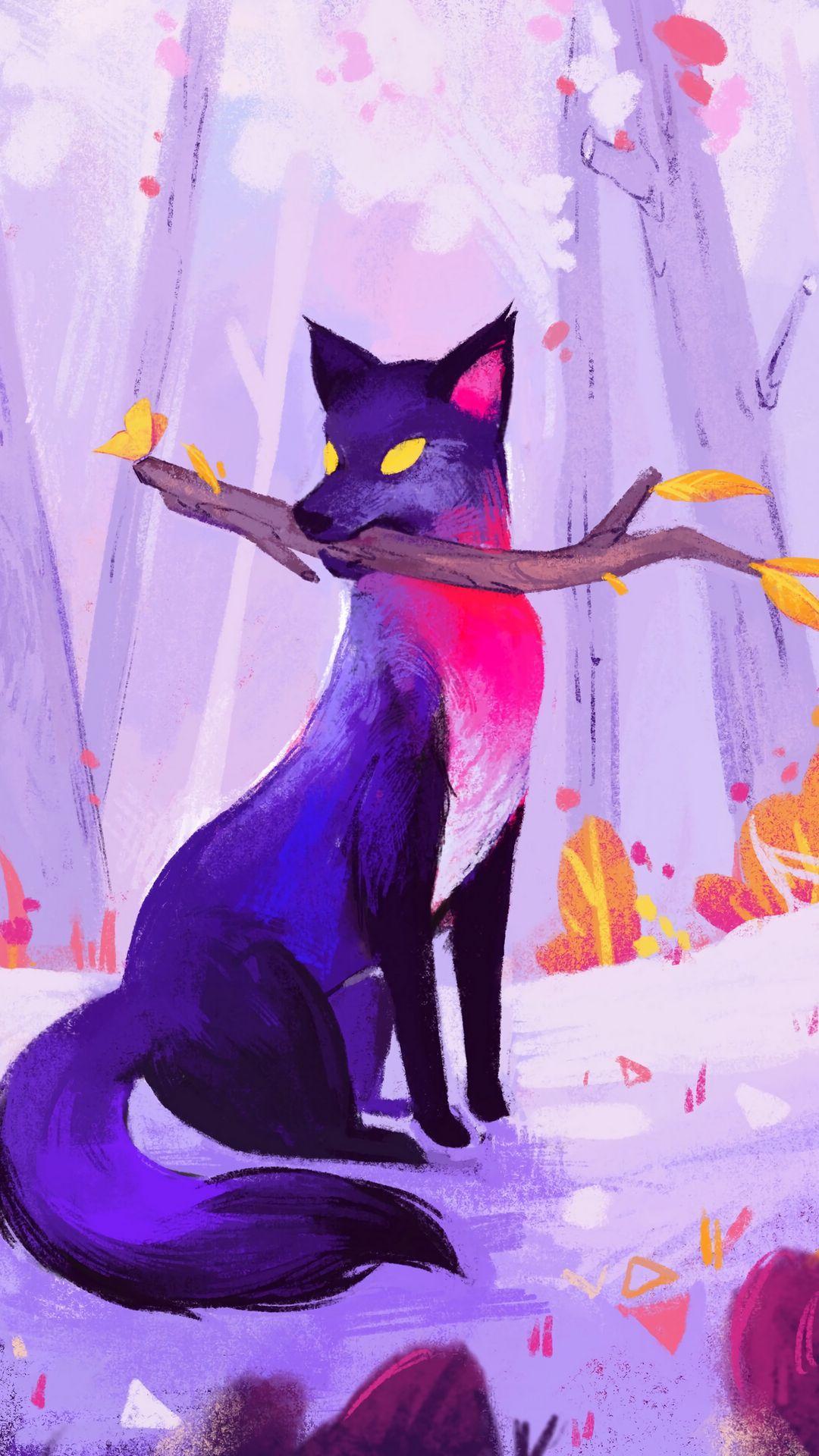 1080x1920 Wallpaper fox, stick, autumn, art, purple