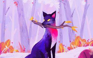 Preview wallpaper fox, stick, autumn, art, purple