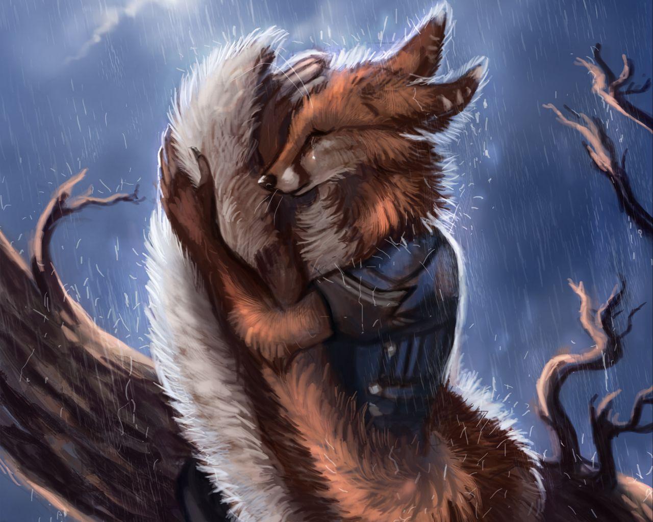 1280x1024 Wallpaper fox, tail, rain, hide, sadness