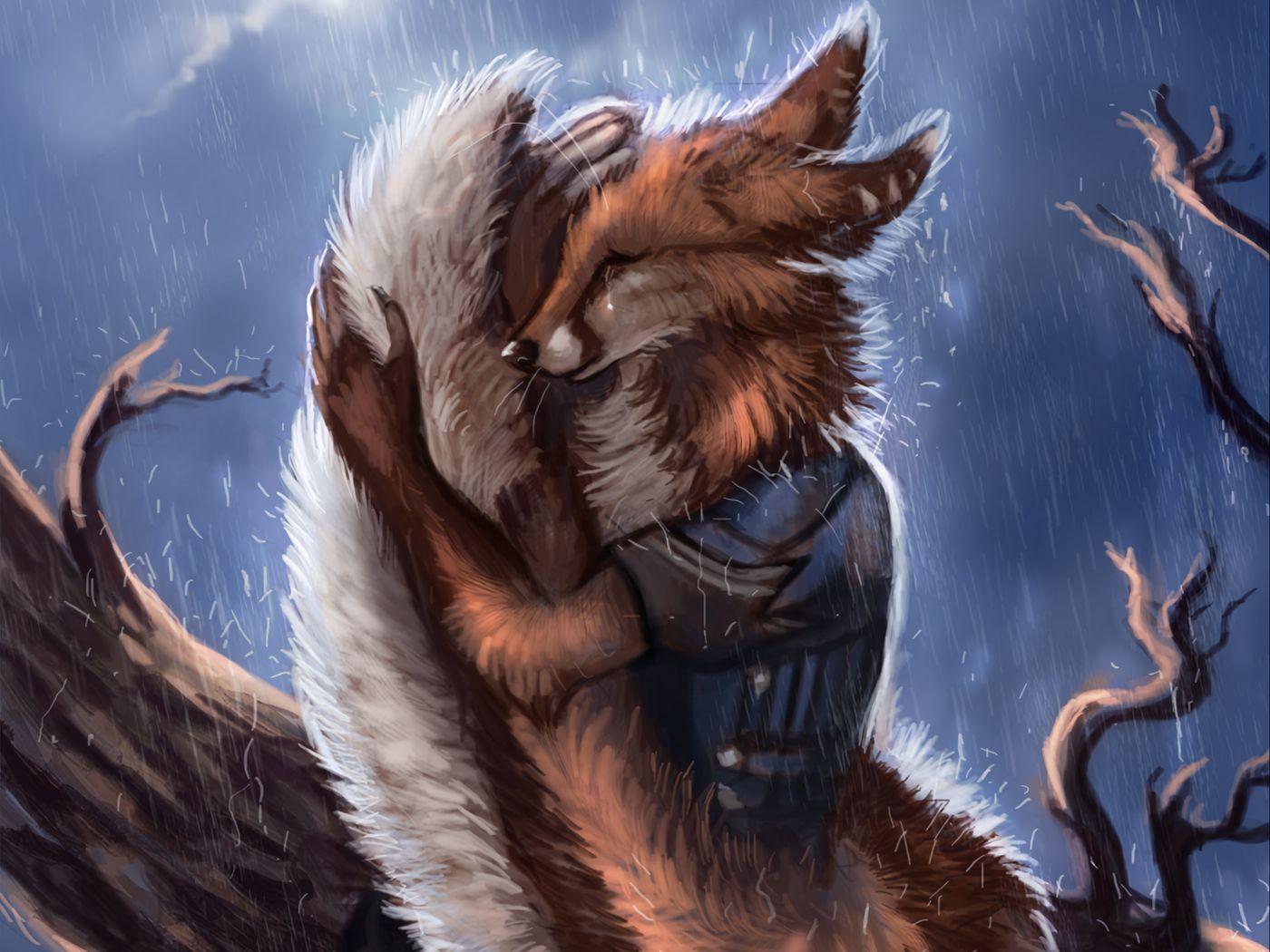 1400x1050 Wallpaper fox, tail, rain, hide, sadness