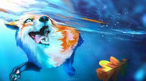 Preview wallpaper fox, tongue protruding, water, under water, swim, art
