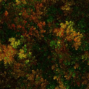 Preview wallpaper fractal, bushy, thick, green, yellow, red