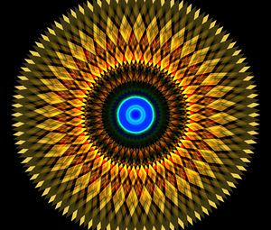 Preview wallpaper fractal, circles, shapes, abstraction, yellow