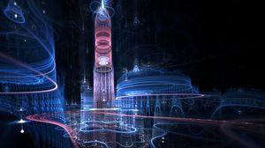 Preview wallpaper fractal, city, imagination, blue, sky