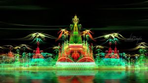 Preview wallpaper fractal, city, imagination, green, smoke, illusion