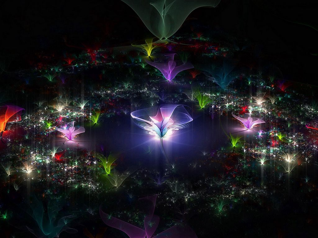 1024x768 Wallpaper fractal, flying, dark, background