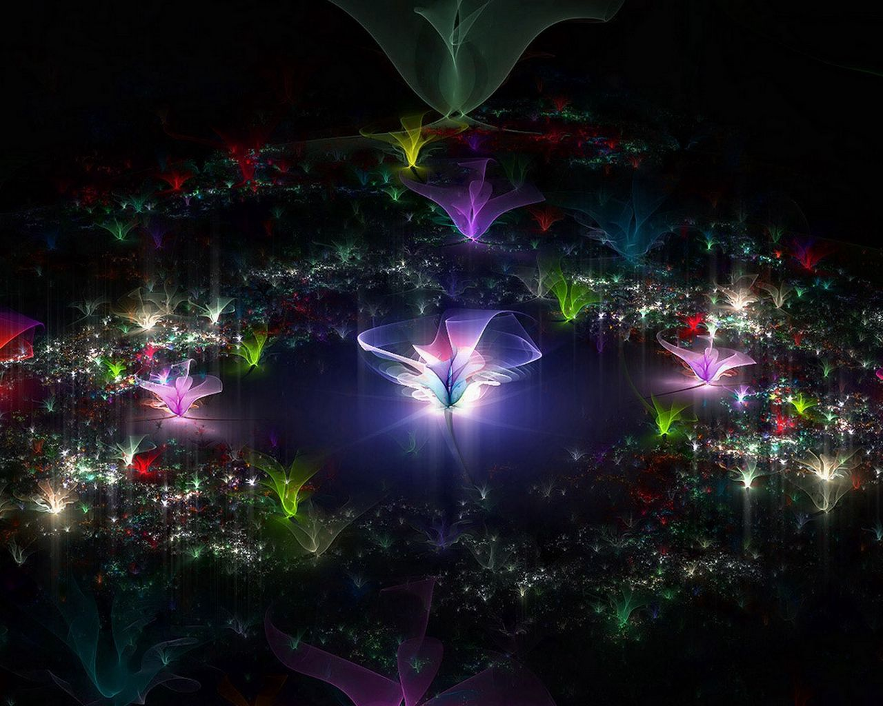 1280x1024 Wallpaper fractal, flying, dark, background