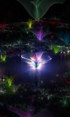 240x400 Wallpaper fractal, flying, dark, background