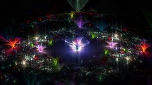 Preview wallpaper fractal, flying, dark, background
