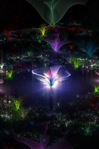 320x480 Wallpaper fractal, flying, dark, background