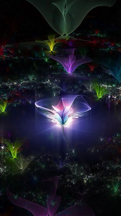 480x854 Wallpaper fractal, flying, dark, background