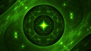 Preview wallpaper fractal, glow, glare, green, abstraction