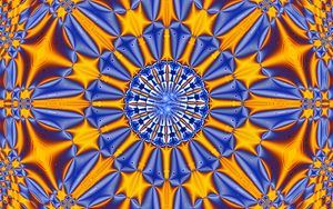 Preview wallpaper fractal, pattern, abstraction, blue, yellow