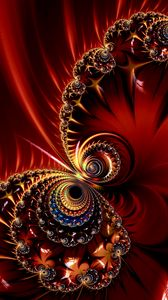 Preview wallpaper fractal, pattern, glare, abstraction, red