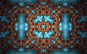 Preview wallpaper fractal, pattern, glow, abstraction, blue, brown