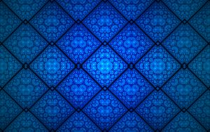 Preview wallpaper fractal, pattern, rhombuses, shapes, abstraction, blue