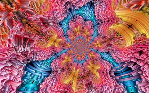 Preview wallpaper fractal, pattern, tangled, colorful, abstraction, digital art