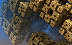 Preview wallpaper fractal, shape, squares, 3d
