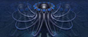 Preview wallpaper fractal, shapes, ball, 3d, blue