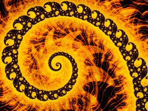 Preview wallpaper fractal, spiral, pattern, abstraction, yellow