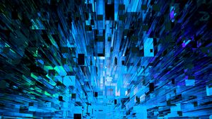 Preview wallpaper fragments, shards, abstraction, blue