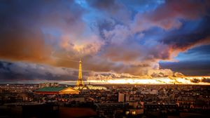 Preview wallpaper france, paris, houses, dal, skyline, eiffel tower, sunrise, sunset, sky, clouds