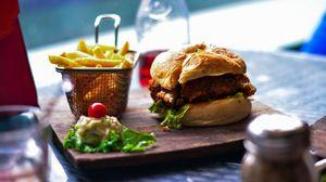 Preview wallpaper french fries, burger, hamburger, vegetables, bun