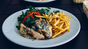 Preview wallpaper french fries, chicken, food, meat