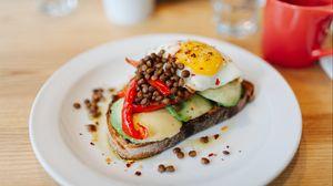 Preview wallpaper fried eggs, sandwich, avocado, breakfast