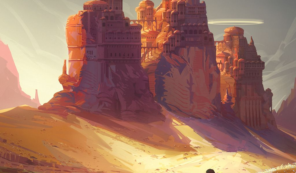 1024x600 Wallpaper friends, adventure, castle, art