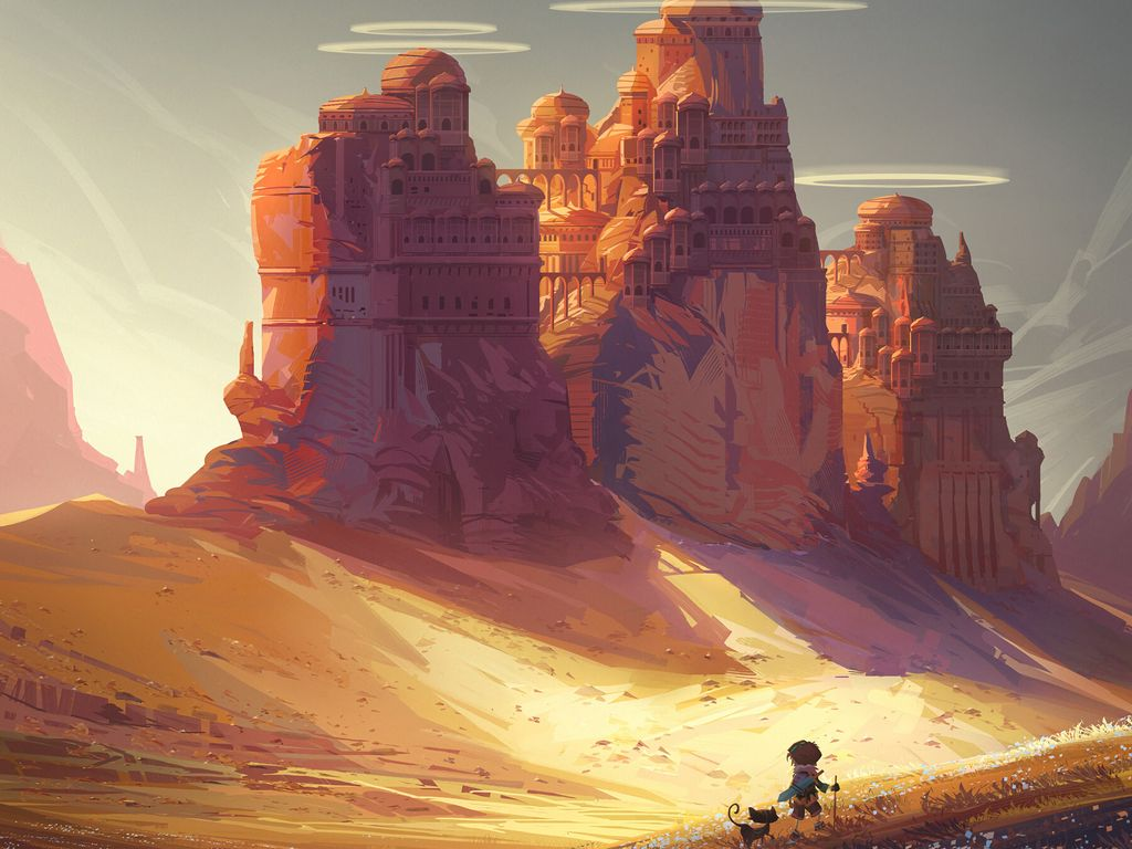 1024x768 Wallpaper friends, adventure, castle, art