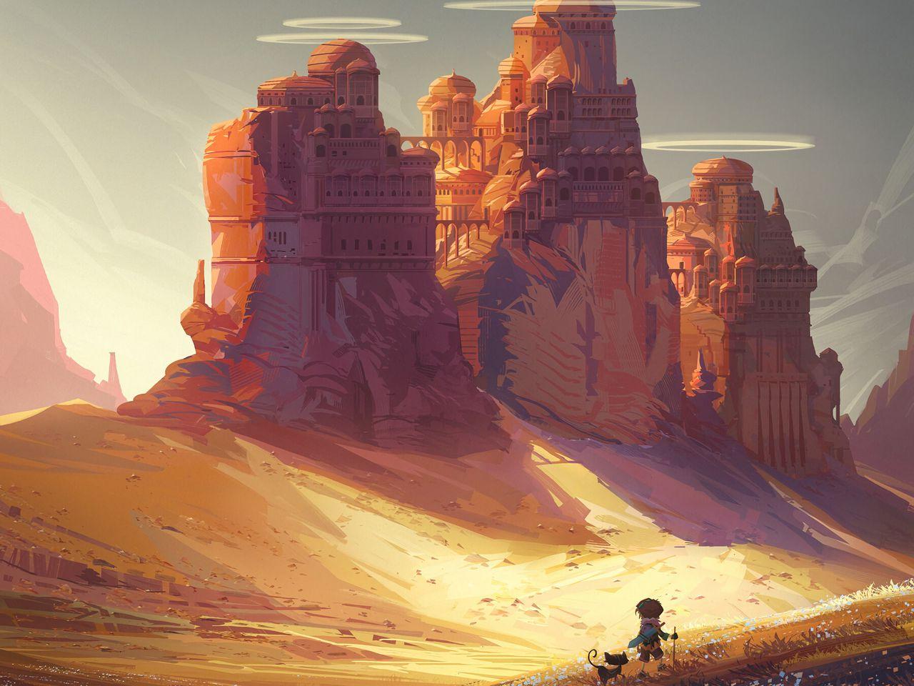 1280x960 Wallpaper friends, adventure, castle, art