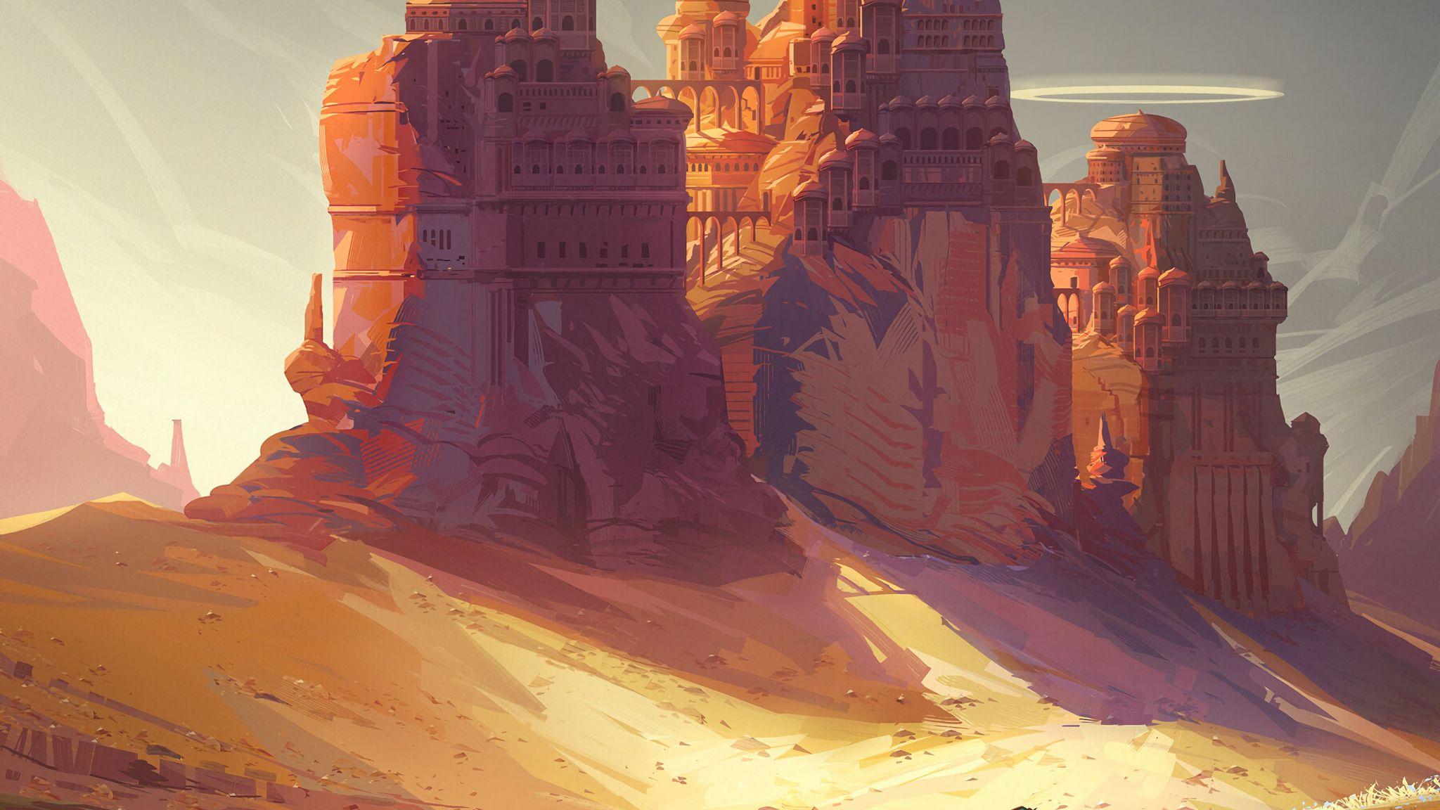 2048x1152 Wallpaper friends, adventure, castle, art