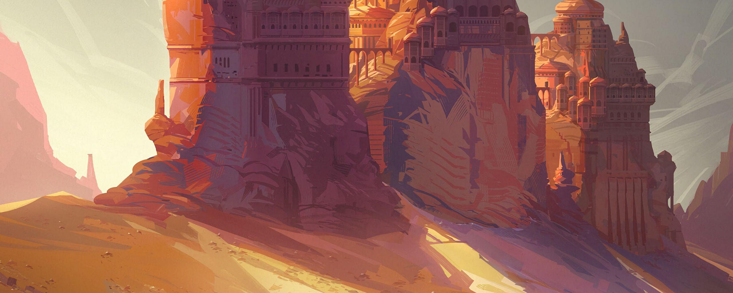 2560x1024 Wallpaper friends, adventure, castle, art