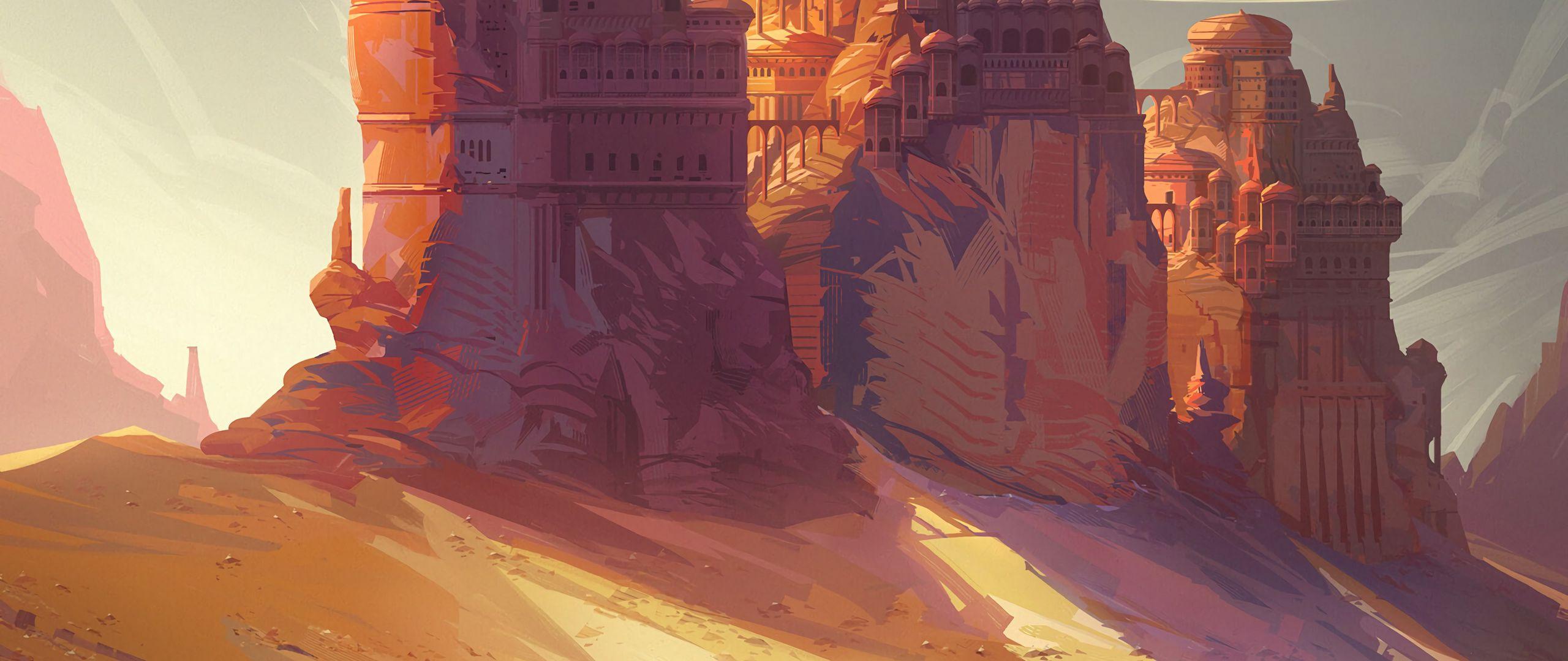 2560x1080 Wallpaper friends, adventure, castle, art
