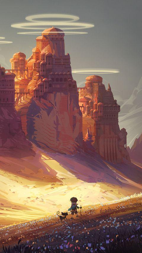 480x854 Wallpaper friends, adventure, castle, art
