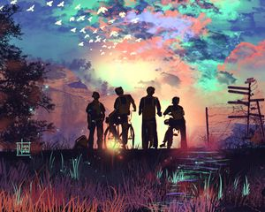 Preview wallpaper friends, children, silhouettes, bicycles, art