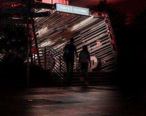 Preview wallpaper friends, friendship, talk, silhouette, building, dark