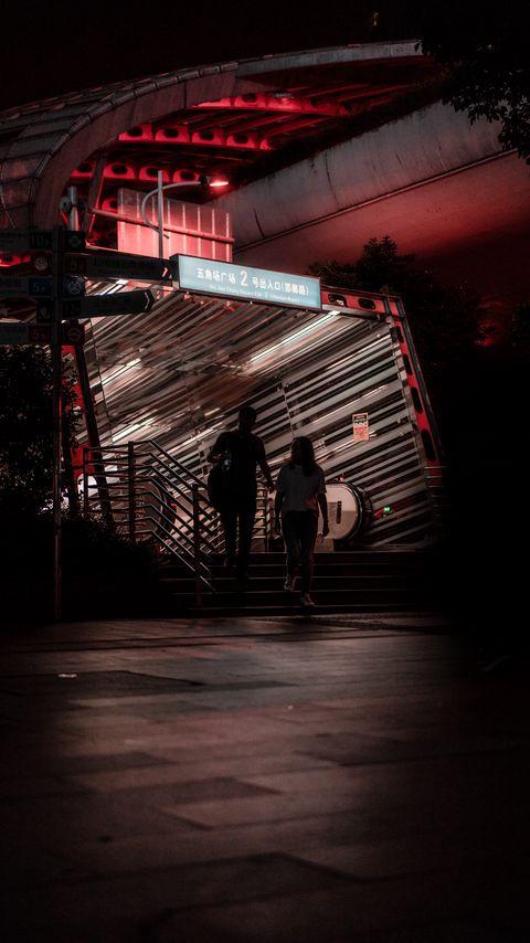 480x854 Wallpaper friends, friendship, talk, silhouette, building, dark