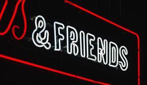 Preview wallpaper friends, inscription, neon, backlight, dark